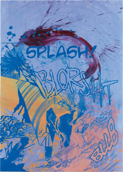 Actions (Splash, Blorsht, Bllb on blue)