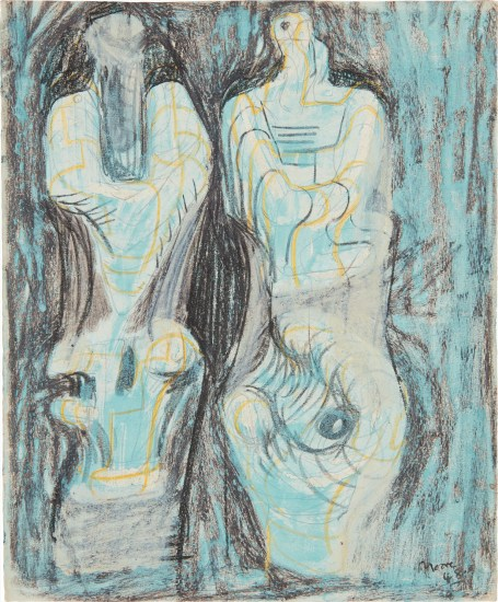 Page from Sketchbook: Two Sculptural Figures on Green Background