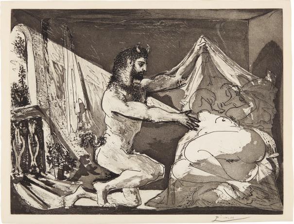 Faune dévoilant une femme (Faun Revealing a Woman), plate 27, from La Suite Vollard