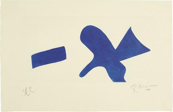 L'oiseau bleu (Invitation exposition Louis Broder pour le livre de Braque) (The Blue Bird - invitiation exhibition Louis Broder for Braque book)