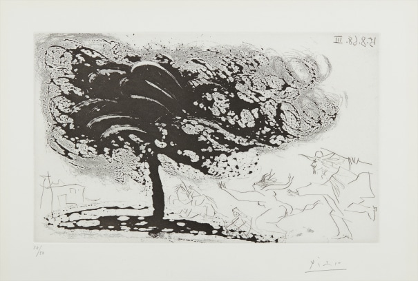Arbre dans la tempête, avec fuite vers une église (Tree in the Storm, Escaping to a Church), plate 281, from 347 Series