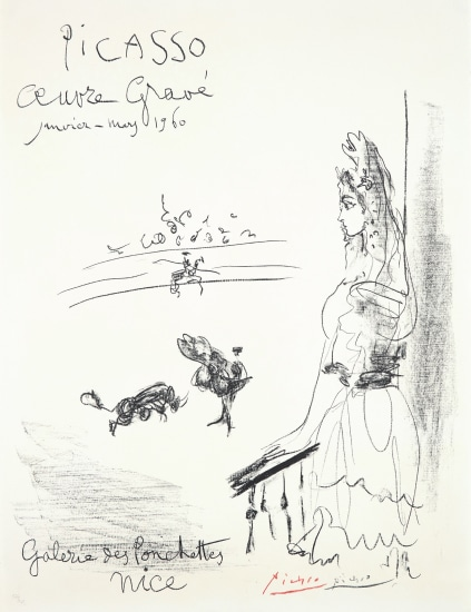 Femme au balcon, Affiche 'Oeuvre Gravé' (Woman on the Balcony, Poster for Engraved Artwork)