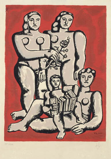 Accordianist's family, from Album of 10 Serigraphs