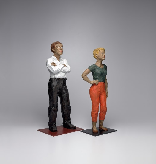 Man in White Shirt; and Woman in Orange Pants with Hand on Hip