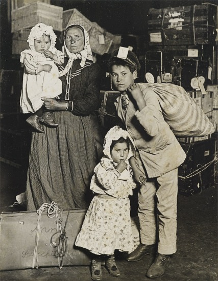 Italian Family Looking for Lost Baggage, Ellis Island, New York