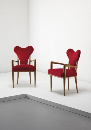 "Rare pair of ""Coeur"" armchairs"