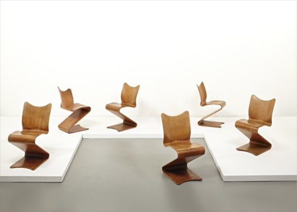 """Set of six early """"S-chairs,"""" model no. 275"""