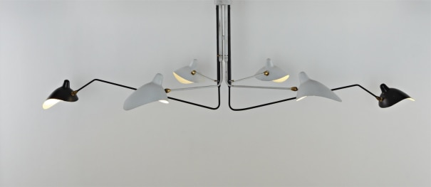 Serge Mouille Unique And Important Six Arm Ceiling Light