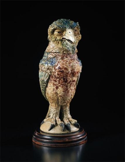 Benjamin Disraeli caricatured as a fantastical bird jar and cover