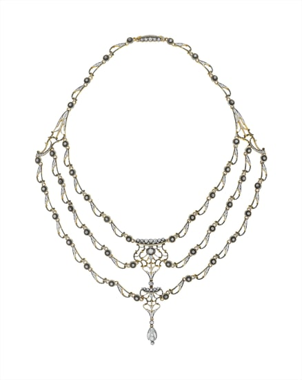 An Enamel and Diamond Necklace