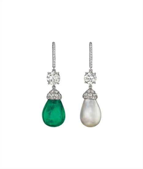 A Pair of Emerald, Natural Pearl, and Diamond Ear Pendants