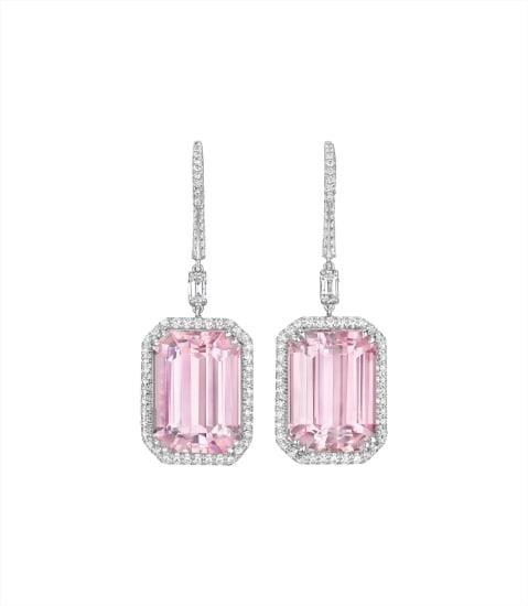 A Pair of Kunzite and Diamond Ear Pendants