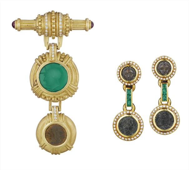 A Set of Diamond, Chalcedony, Ruby, Emerald and Coin Jewelry