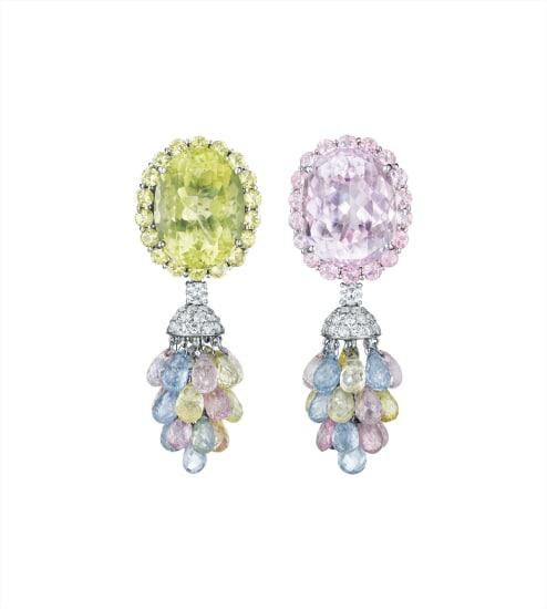 A Pair of Kunzite, Lemon Quartz, Multi-Color Sapphire and Diamond Ear Pendants