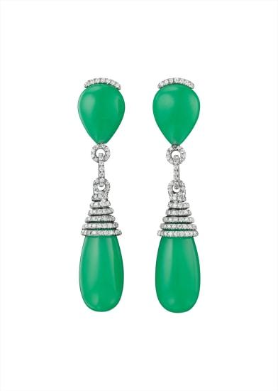 A Pair of Chrysoprase and Diamond Ear Pendants