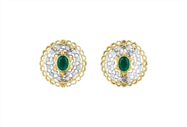 4e1b92276 Buccellati - A Pair of Emerald and Diamond Earclips | Phillips