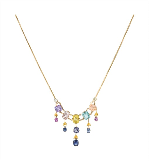 A Multi-Color Sapphire, Aquamarine, and Spinel Necklace