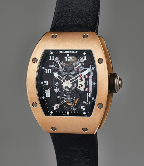 A very rare and exceptional pink gold dual-time tourbillon wristwatch with function selector, power reserve and torque indication, with original guarantee, boxes, and accessories, sold to benefit charity