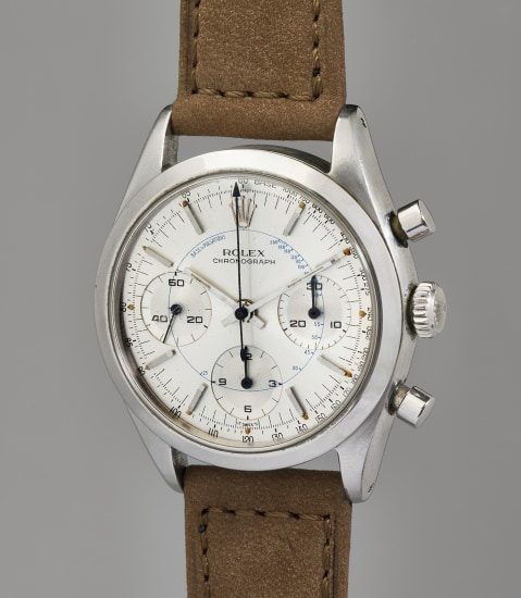 An extremely rare, very attractive, and well-preserved stainless steel chronograph wristwatch with blue pulsometer scale