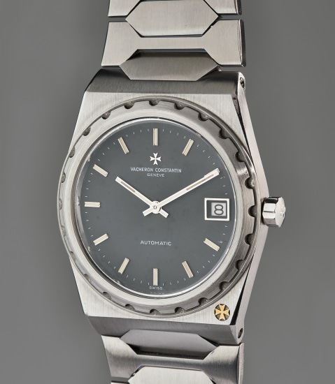A fine and very rare stainless steel wristwatch with date and integrated bracelet