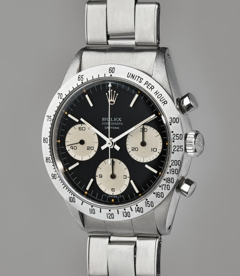 """An early and attractive stainless steel chronograph wristwatch with bracelet and """"floating Daytona"""" designation"""