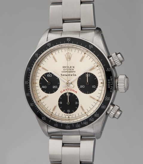 An extremely rare and highly attractive stainless steel chronograph wristwatch with silver dial and bracelet, retailed by Tiffany & Co.