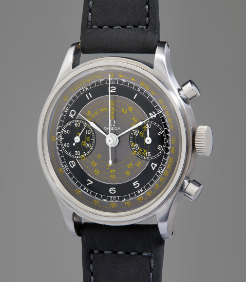 A very rare and highly attractive stainless steel multi-scale chronograph wristwatch with black and grey dial and tachymeter scale