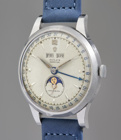 An extremely rare, highly attractive, and well-preserved triple calendar wristwatch with grené dial featuring luminous hour markers and hands, from family of original owner