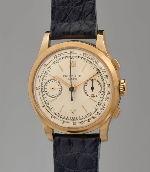 A very rare, large, and highly attractive yellow gold chronograph wristwatch with tachymeter