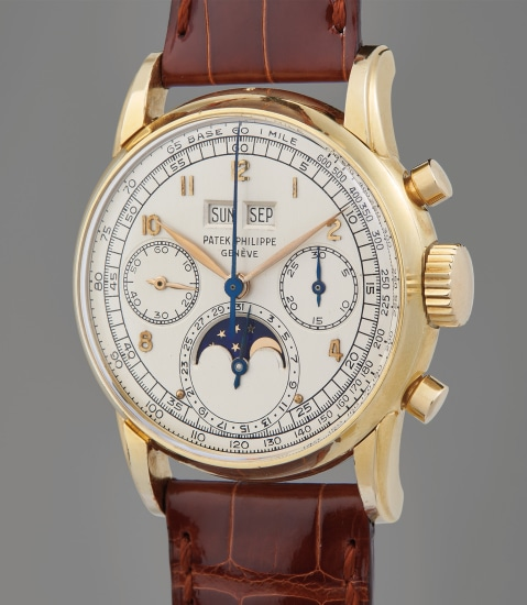 A possibly unique, previously unknown, and extremely well-preserved yellow gold perpetual calendar chronograph wristwatch with moon phase, retailed by Gübelin