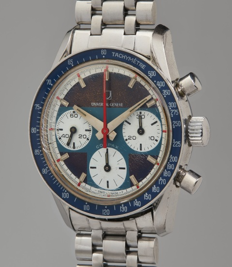 An attractive and extremely well preserved stainless steel chronograph wristwatch with tachymeter and JB Champion bracelet