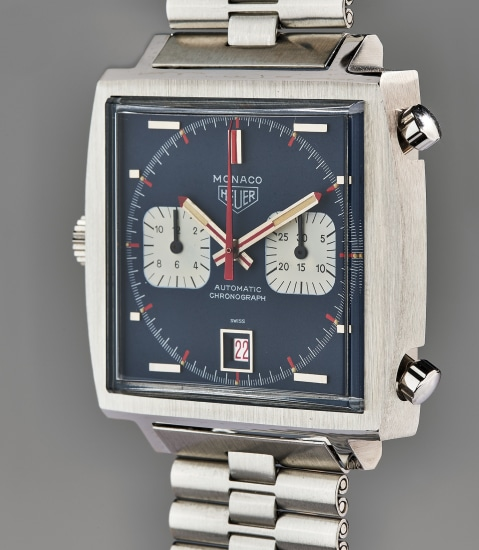 An extraordinary and unique stainless steel 50th anniversary chronograph wristwatch with bracelet, guarantee, unique presentation box, original drawing, and accessories, sold to benefit charity