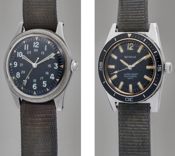 A pair of rare and historically important stainless steel military wristwatches, from the family of the original owner and with provenance letter
