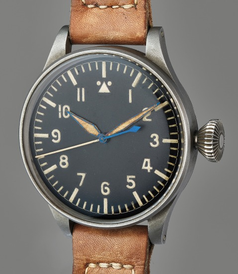 A rare oversized pilot's wristwatch with indirect center seconds