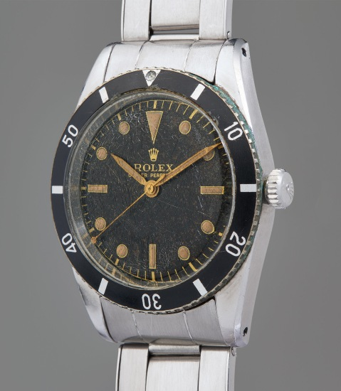 An early, extremely rare, and exceptionally well-preserved stainless steel wristwatch with center seconds and bracelet
