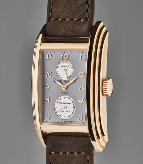 A very fine and rare pink gold rectangular tourbillon chronometer wristwatch with 10-day power reserve, certificate of origin, presentation box and original accessoriessories