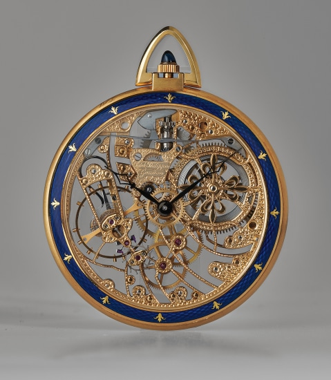 A very rare and highly attractive yellow gold and blue guilloche enamel skeletonized open face pocket watch with original certificate of origin