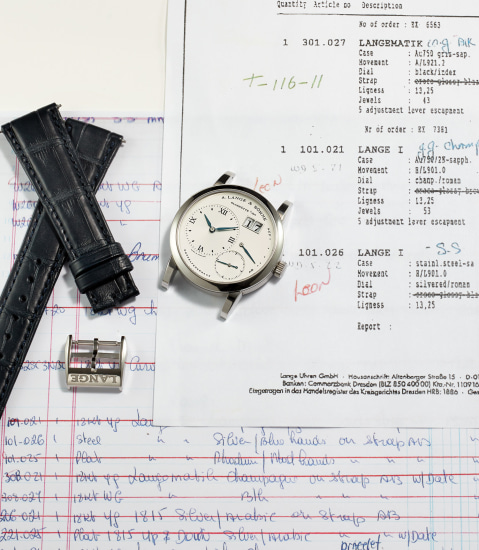 """An extremely rare and important stainless steel wristwatch with oversized date and power reserve, in """"New Old Stock"""" condition"""