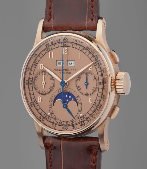 A previously unknown, extremely rare, and highly attractive pink gold perpetual chronograph wristwatch with pink dial and moon phase