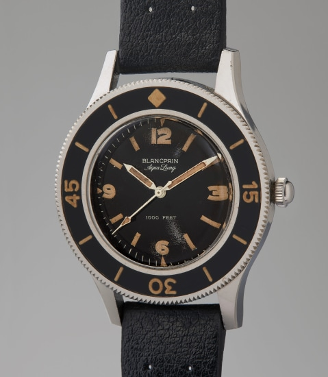 A very rare and well-preserved stainless steel automatic diver's wristwatch with center seconds and rotating bezel