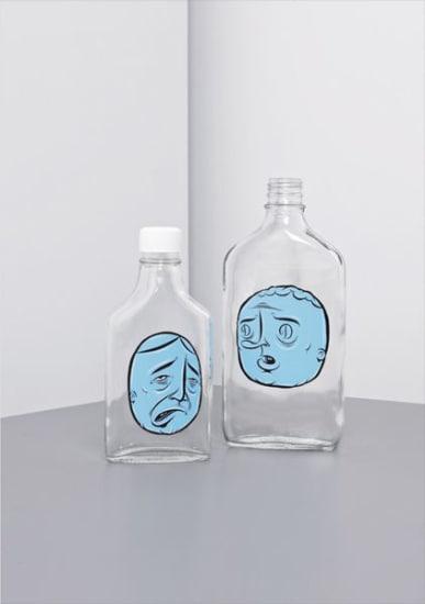 Two works: (i) Untitled (blue face bottle) (ii) Untitled (blue face bottle)