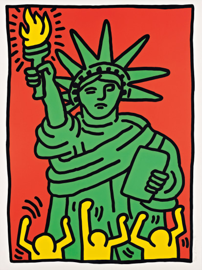 Keith Haring Statue Of Liberty 1986 Phillips