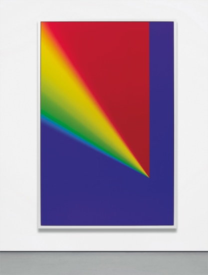 """Photoshop CS: 110 by 72 inches, 300 DPI, RGB, square pixels, default gradient """"Russell's Rainbow"""" (turn transparency off), mousedown y=25300 x=17600, mouse up y=4300 x=17600"""