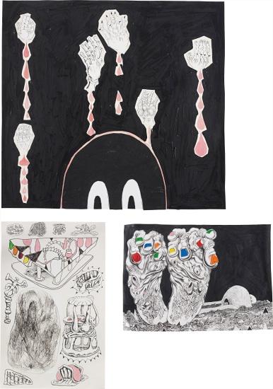 Three works: (i) Darkness Baby with Dead Hands, 2007; (ii) FEEEET, 2007; (iii) Various Ossi-Units and Good Vegan Detritus #2, 2007