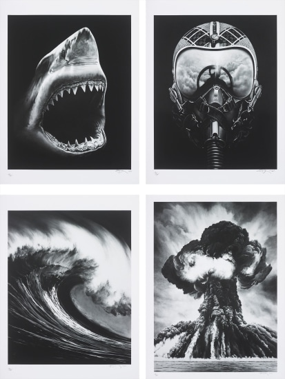 Untitled (Shark 5); Untitled (Ulysses); Spanish Blood (Lion's Gate); and Russian Bomb (Semipalatinsk)