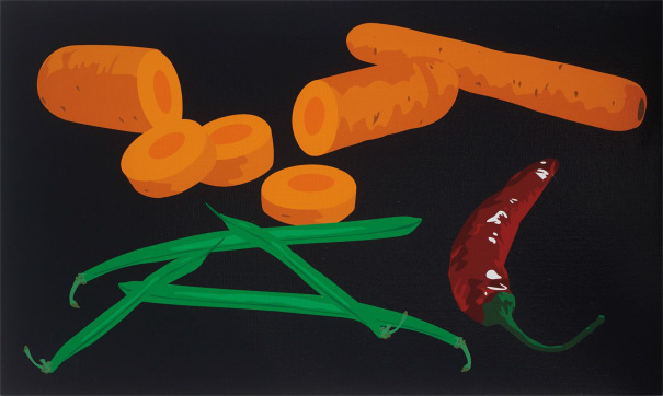 Still Life with Green Beans, Chilli Pepper and Carrots