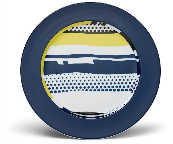 Six abstract service plates