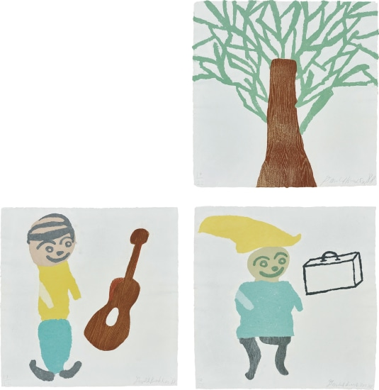 Tree; Composition with Guitar; and Composition with Suitcase