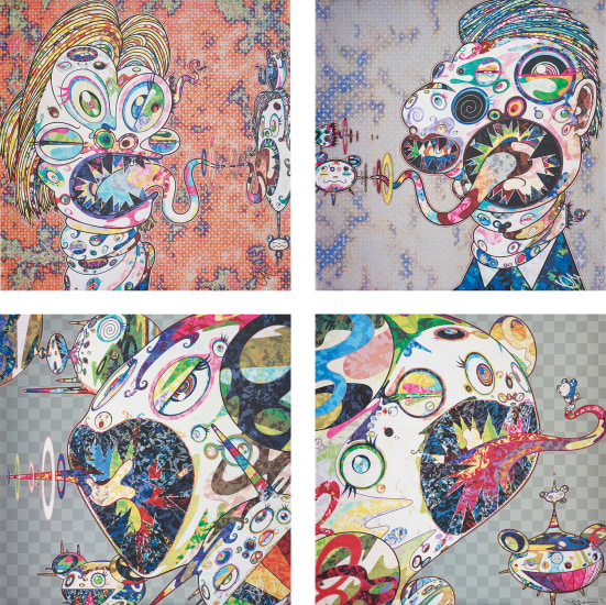 Homage to Francis Bacon (Study for Head of Isabel Rawsthorne and George Dyer); Homage to Francis Bacon (Study for Head of Isabel Rawsthorne and George Dyer); Homage to Francis Bacon (Study of Isabel Rawsthorne); and Homage to Francis Bacon (Study of George Dyer)