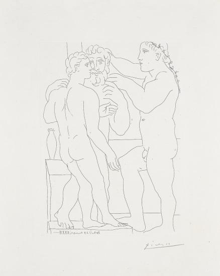 Jeune sculpteur Grec avec sa sculpture: un homme et un Éphèbe (Young Greek Sculptor with his Sculpture: A Man and an Ephebe), plate 52 from La Suite Vollard